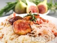 Оризови спагети със смокини и раци